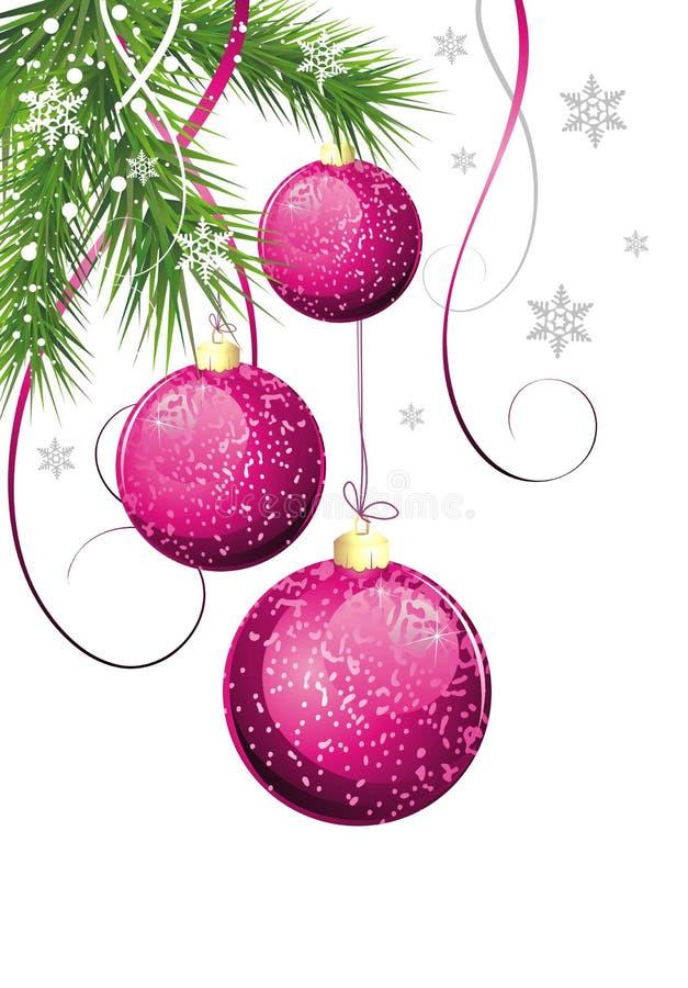 Cartolina di Natale con abete e le sfere illustrazione vettoriale