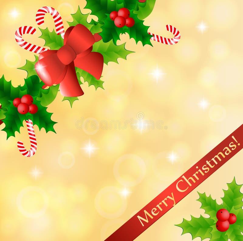 Cartolina di Natale con agrifoglio e le caramelle royalty illustrazione gratis