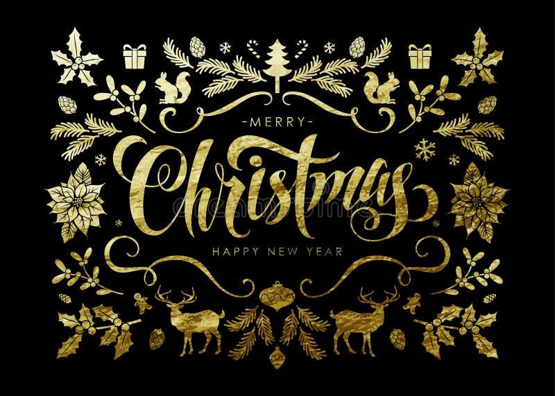 Cartolina di Natale con gli elementi di Natale della stagnola di oro immagine stock