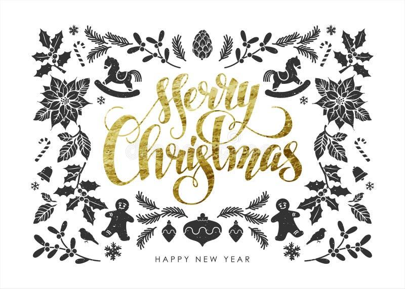 Cartolina di Natale con gli elementi di Natale della stagnola di oro fotografia stock libera da diritti