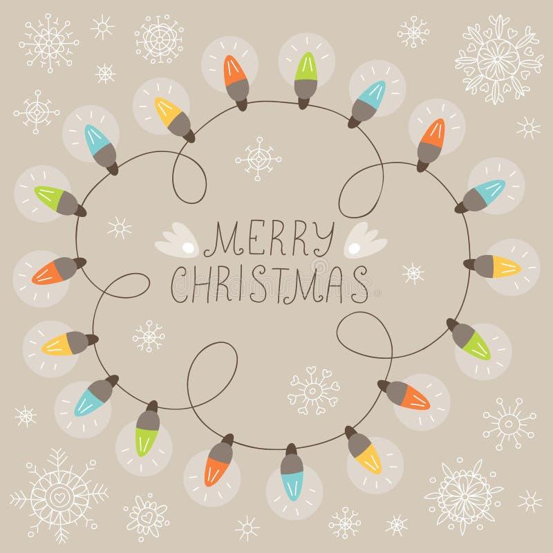 Cartolina di Natale con gli indicatori luminosi illustrazione di stock