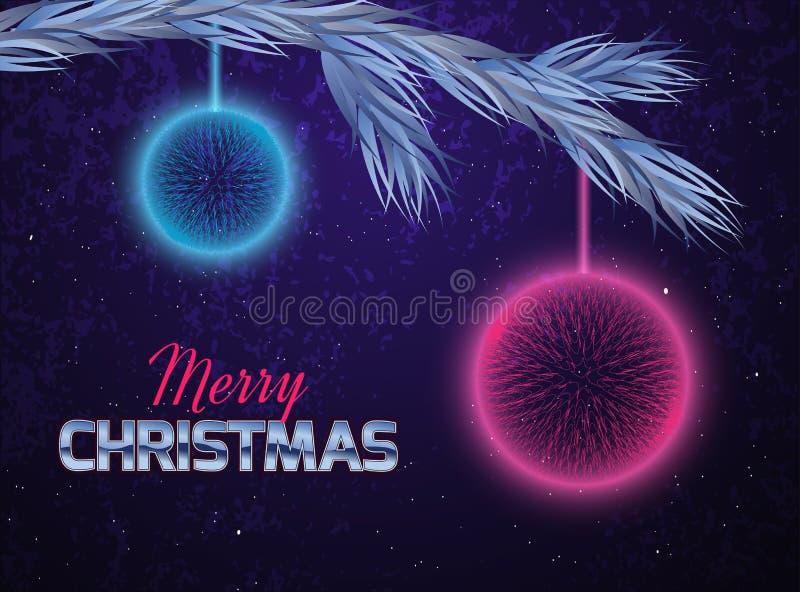 Cartolina di Natale con gli ornamenti astratti royalty illustrazione gratis