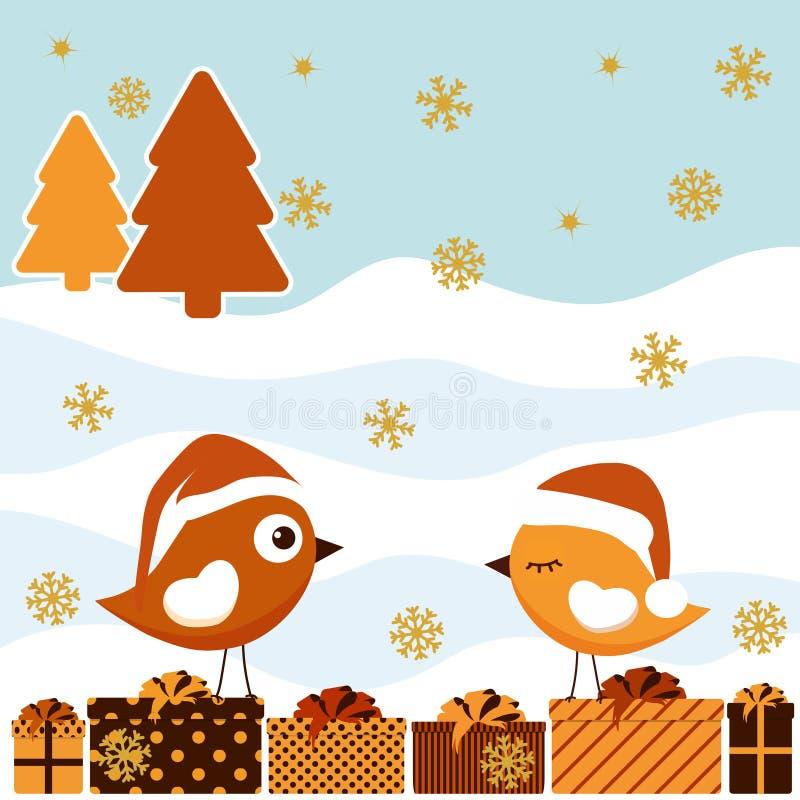 Cartolina di Natale con gli uccelli illustrazione vettoriale