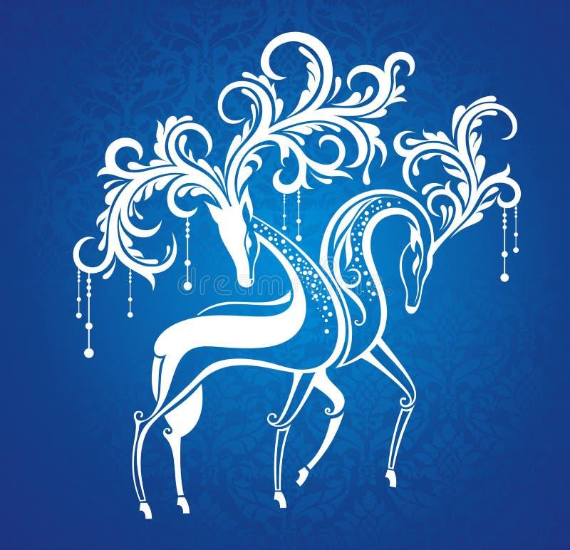 Cartolina di Natale con i cervi illustrazione di stock