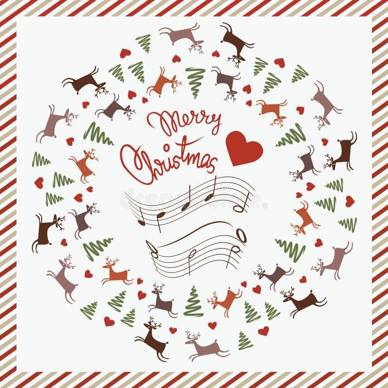 Cartolina di natale con i cervi di dancing illustrazione vettoriale