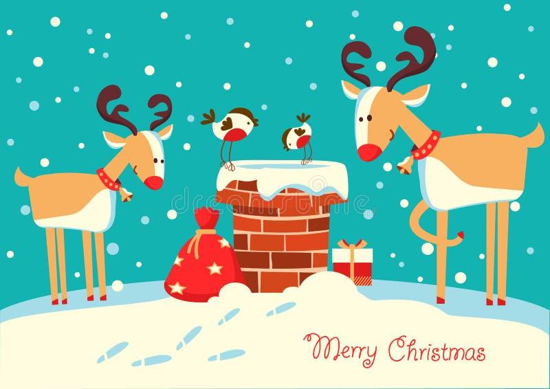 Cartolina di Natale con i cervi e gli uccelli del ciuffolotto che si siedono sul 'chi' illustrazione di stock