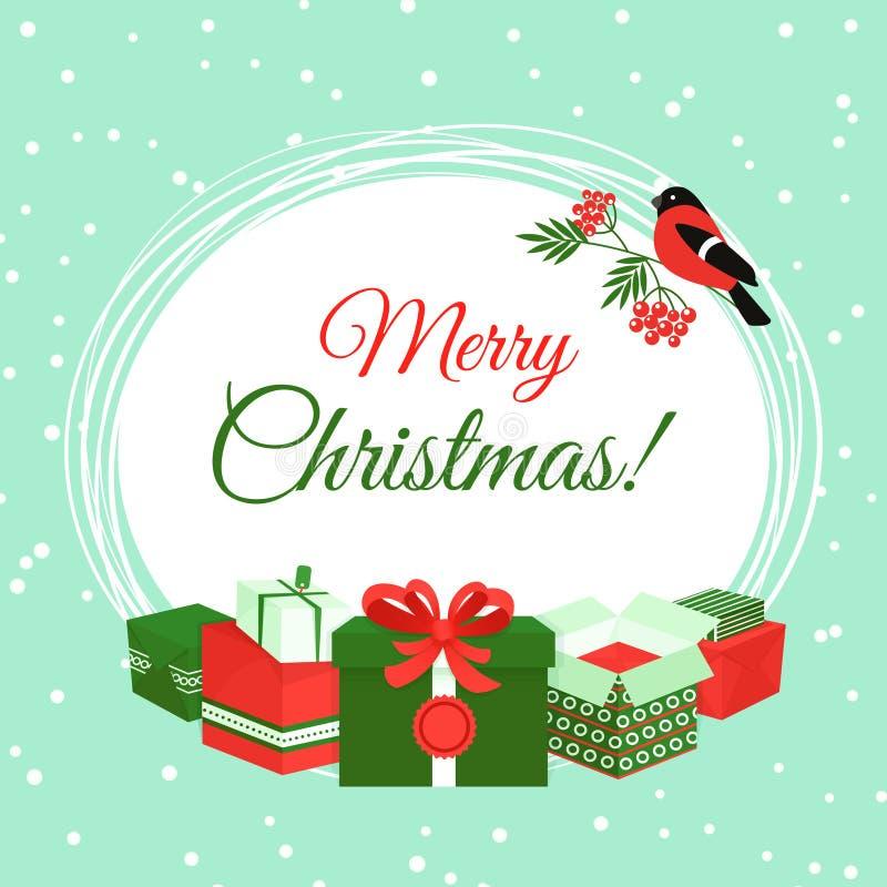Cartolina di Natale con i contenitori di regalo illustrazione vettoriale