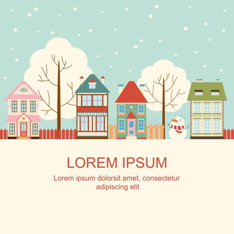 Cartolina di Natale con i cottage svegli nello stile vittoriano illustrazione di stock