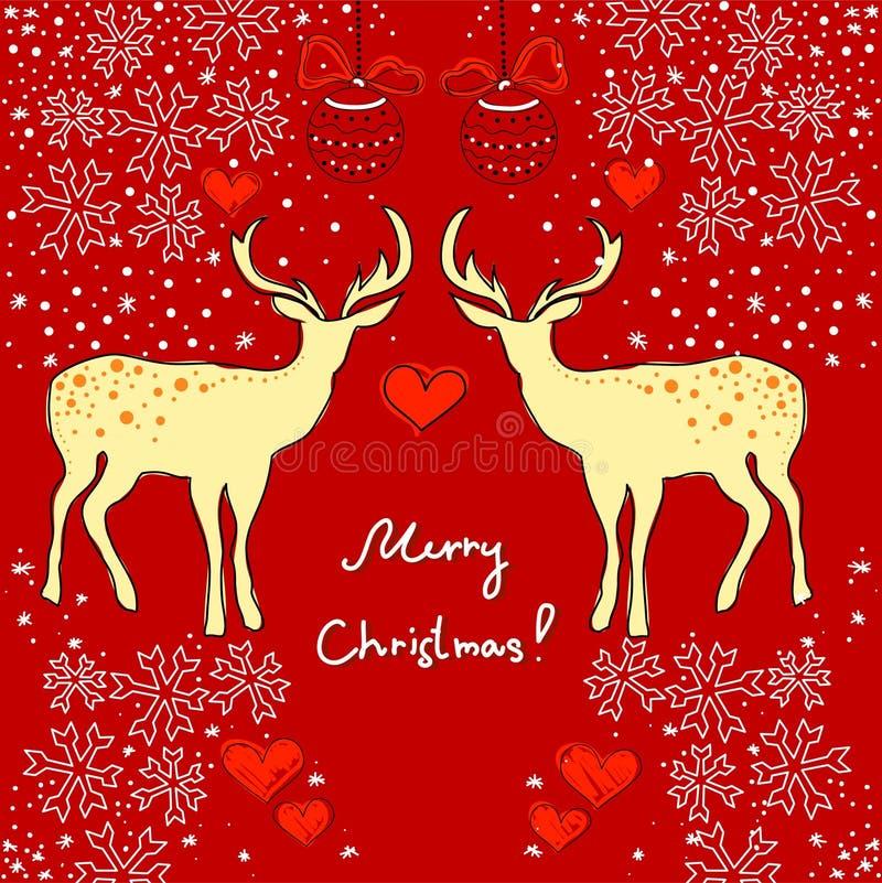 Cartolina di Natale con i deers royalty illustrazione gratis