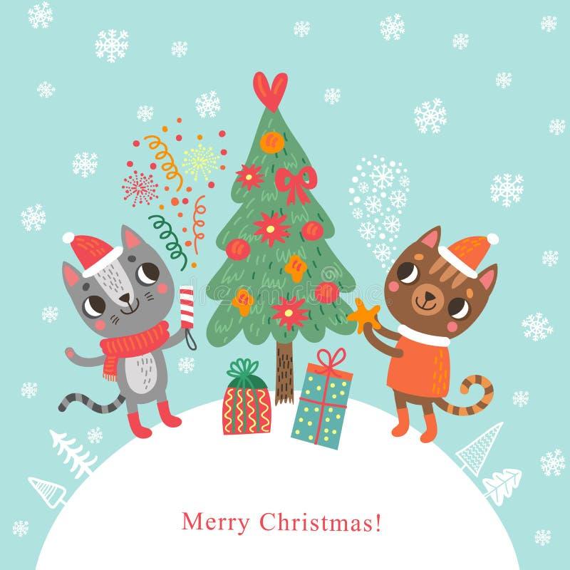 Cartolina di Natale con i gatti e l'albero illustrazione vettoriale