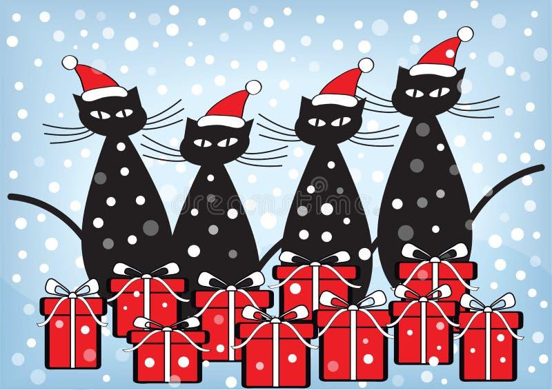 Cartolina di Natale con i gatti ed i presente illustrazione vettoriale