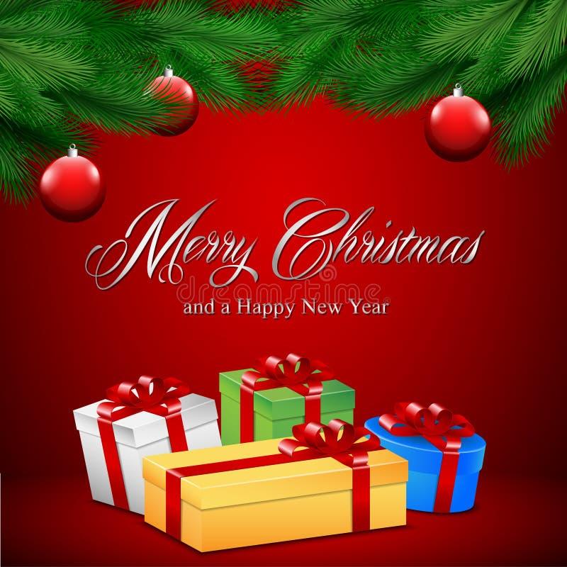Cartolina di Natale con i presente illustrazione di stock