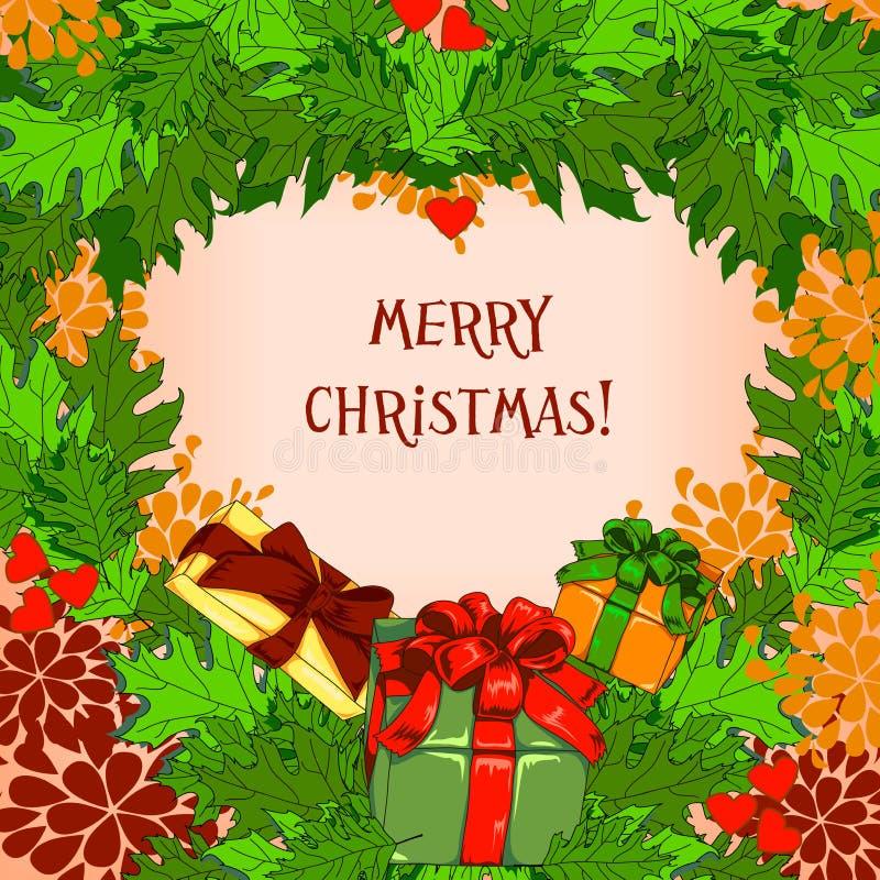 Cartolina di Natale con i regali immagine stock