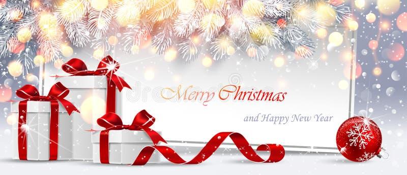 Cartolina di Natale con i regali ed i rami dell'abete Fondo scintillante di Snowy Vettore illustrazione vettoriale