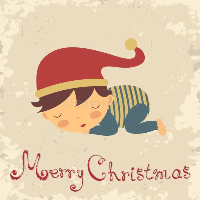 Cartolina di Natale con il bambino-ragazzo addormentato illustrazione vettoriale