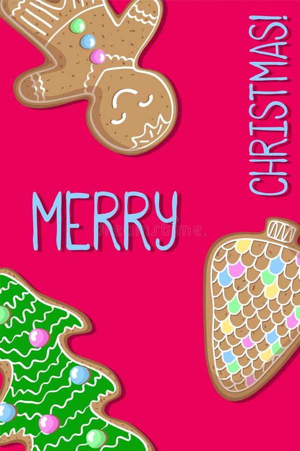 Cartolina di Natale con il biscotto del pan di zenzero Cartolina rosa di Buon Natale illustrazione di stock