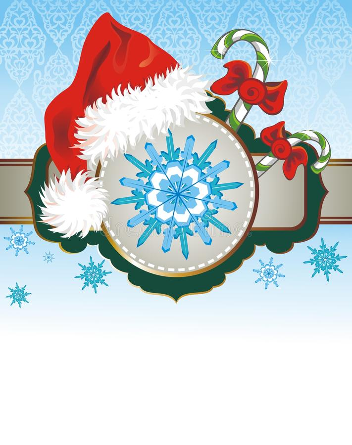 Cartolina di Natale con il cappello rosso illustrazione vettoriale