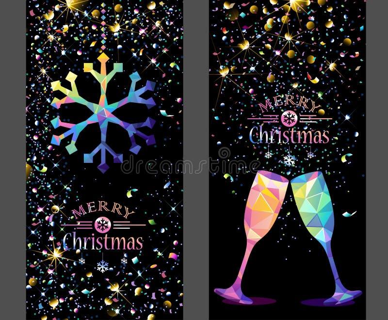 Cartolina di Natale con il fiocco di neve e Champagne Low Poly di colore illustrazione vettoriale