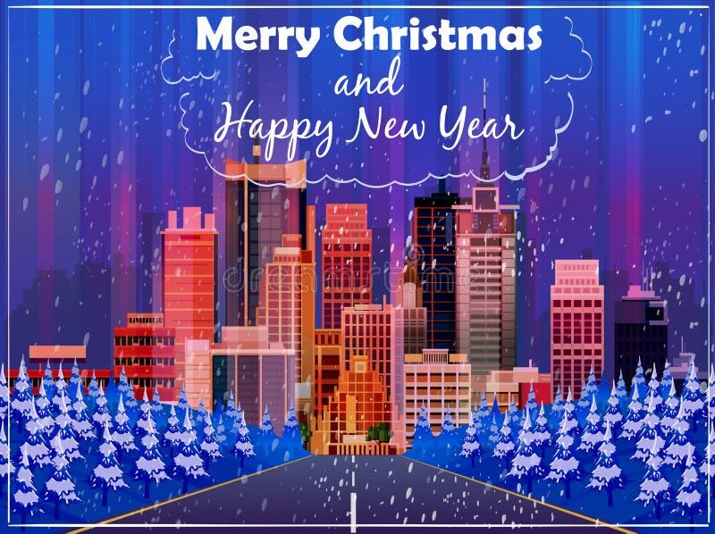 Cartolina di Natale con il fondo della via di notte Illustrazione di vettore royalty illustrazione gratis