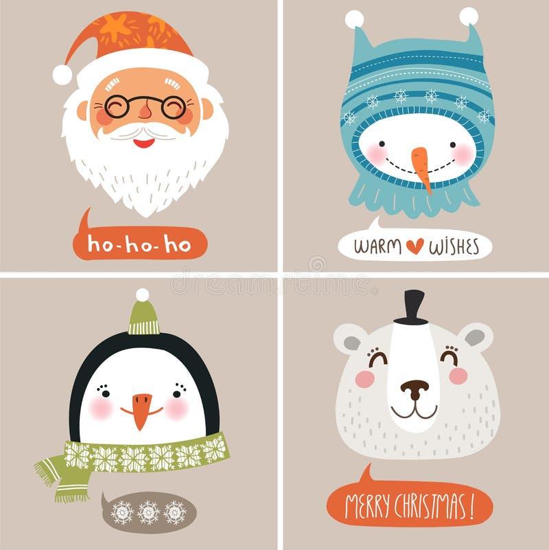 Cartolina di Natale con il fondo sveglio di Natale dei fronti illustrazione vettoriale