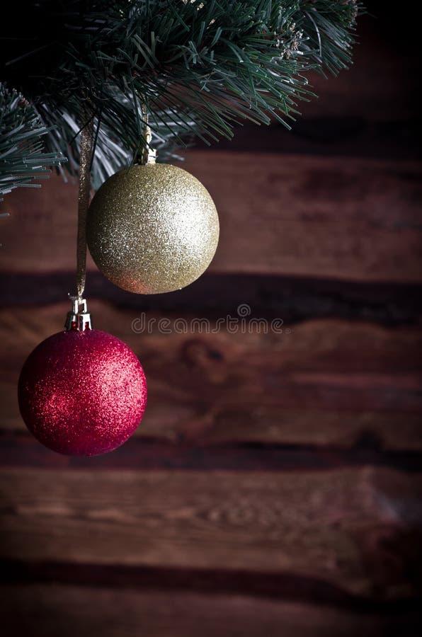 Cartolina di Natale con il giocattolo due fotografia stock