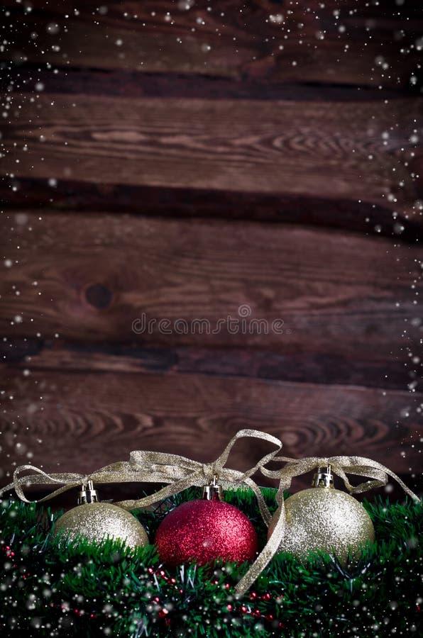 Cartolina di Natale con il giocattolo tre fotografie stock libere da diritti