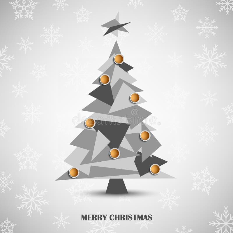 Cartolina di Natale con il modello triangolare grigio dell'albero dell'estratto illustrazione di stock