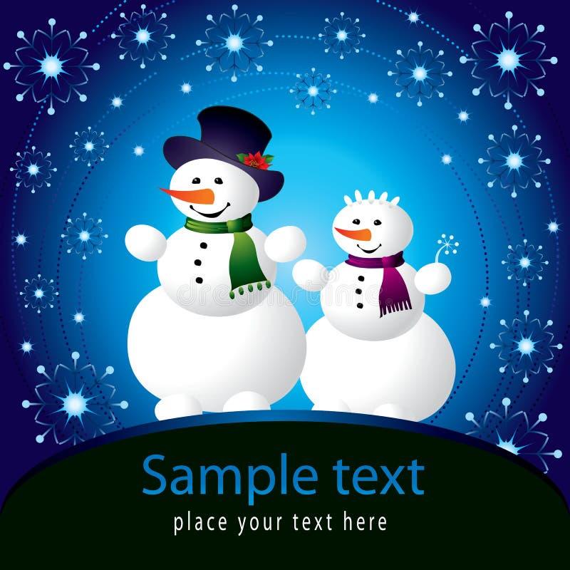 Cartolina di Natale con il pupazzo di neve illustrazione vettoriale