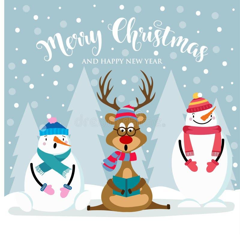 Cartolina di Natale con il pupazzo di neve, il reinder ed i desideri svegli illustrazione di stock