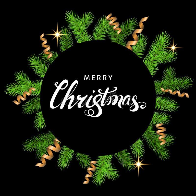 Cartolina di Natale con il ramo attillato, la serpentina dorata e il letteri illustrazione di stock