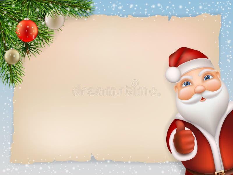 Cartolina di Natale con il ramo dell'abete e di Santa Claus illustrazione vettoriale