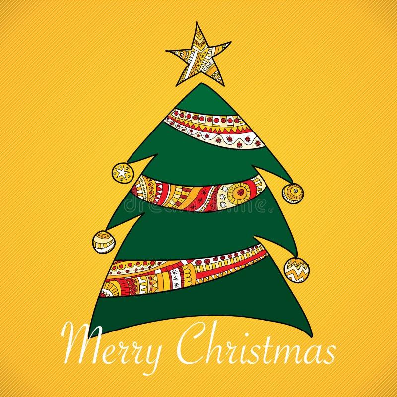 Cartolina di Natale con l'albero illustrazione di stock
