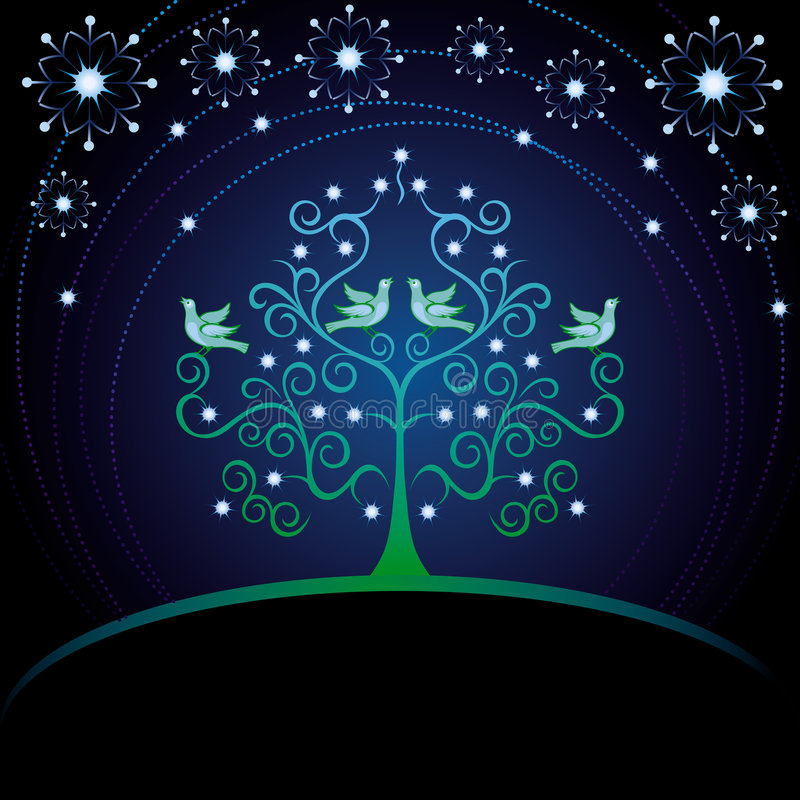 Cartolina di Natale con l'albero. illustrazione vettoriale