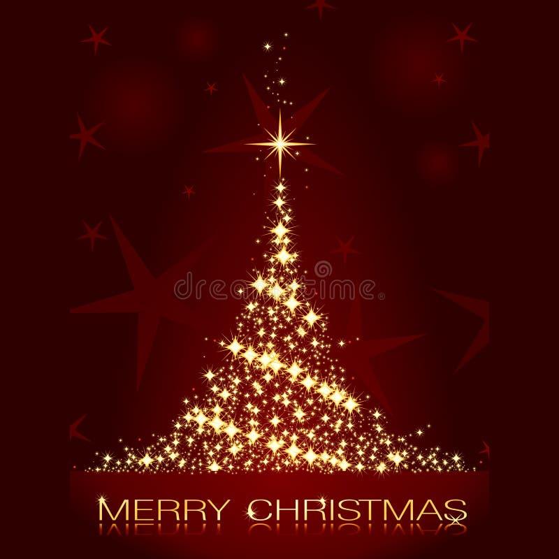 Cartolina di Natale con l'albero di Natale dorato brillante royalty illustrazione gratis