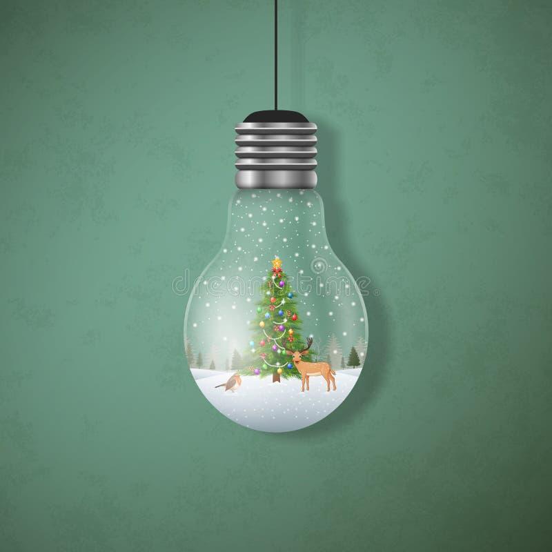 Cartolina di Natale con l'albero di Natale e cervi nelle lampadine d'attaccatura illustrazione vettoriale