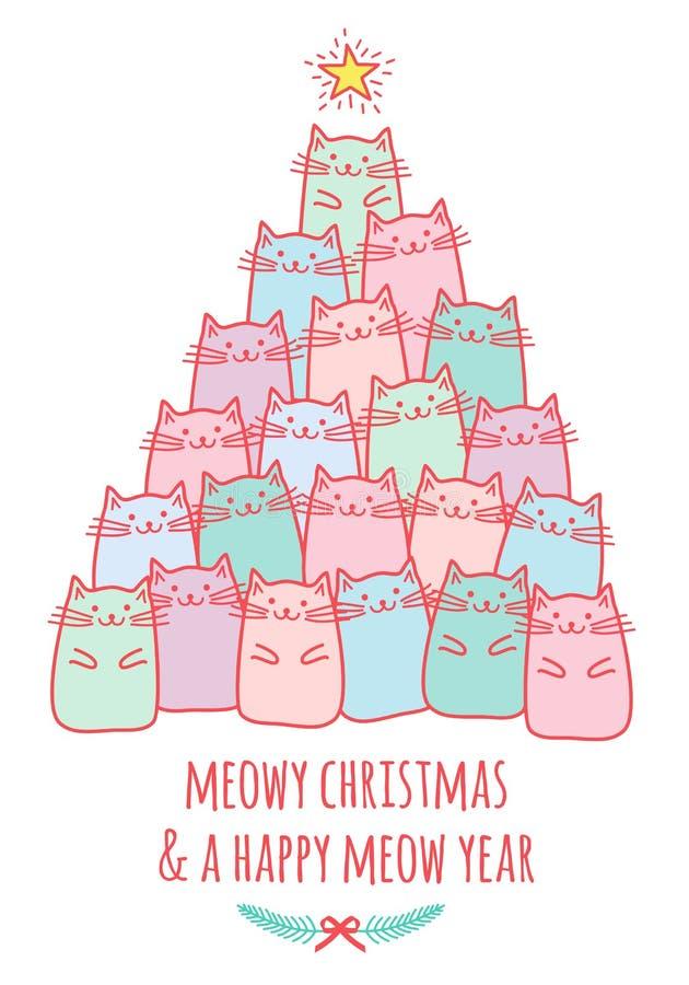 Cartolina di Natale con l'albero sveglio del gatto, vettore royalty illustrazione gratis