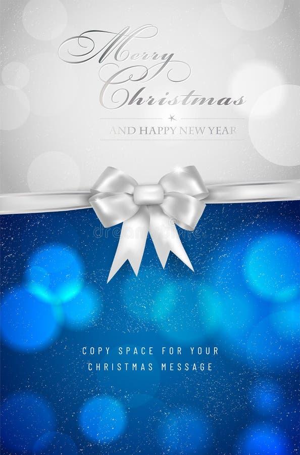 Cartolina di Natale con l'arco d'argento ed i cerchi vaghi brillanti del bokeh illustrazione di stock