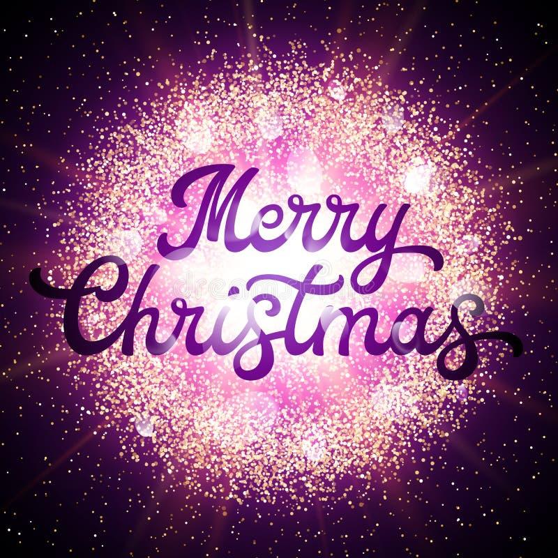 Cartolina di Natale con l'iscrizione dell'iscrizione su fondo con gli elementi brillanti e la stella d'ardore Decorazione di nata illustrazione di stock