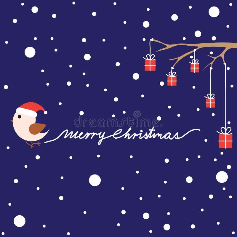 Cartolina di Natale con l'uccello ed i presente royalty illustrazione gratis
