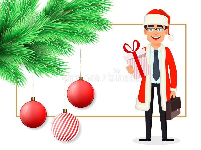 Cartolina di Natale con l'uomo in costume di Santa Claus illustrazione vettoriale
