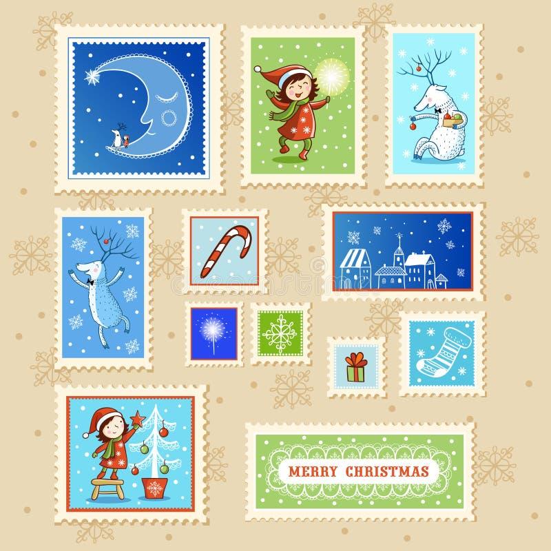 Cartolina di Natale con la casella di testo illustrazione vettoriale