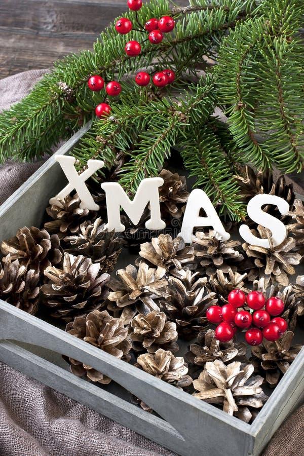 Cartolina di Natale con la composizione in festa fotografia stock