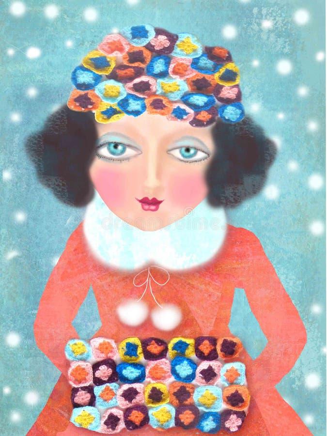 Cartolina di Natale con la donna elegante vestita Donna di bellezza di inverno Ritratto di modo di festa Ragazza disegnata a mano illustrazione di stock