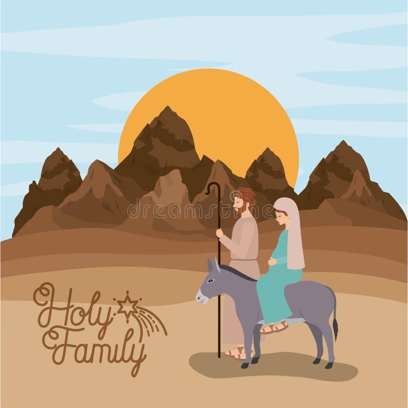 Cartolina di Natale con la famiglia santa che viaggia nel deserto illustrazione vettoriale