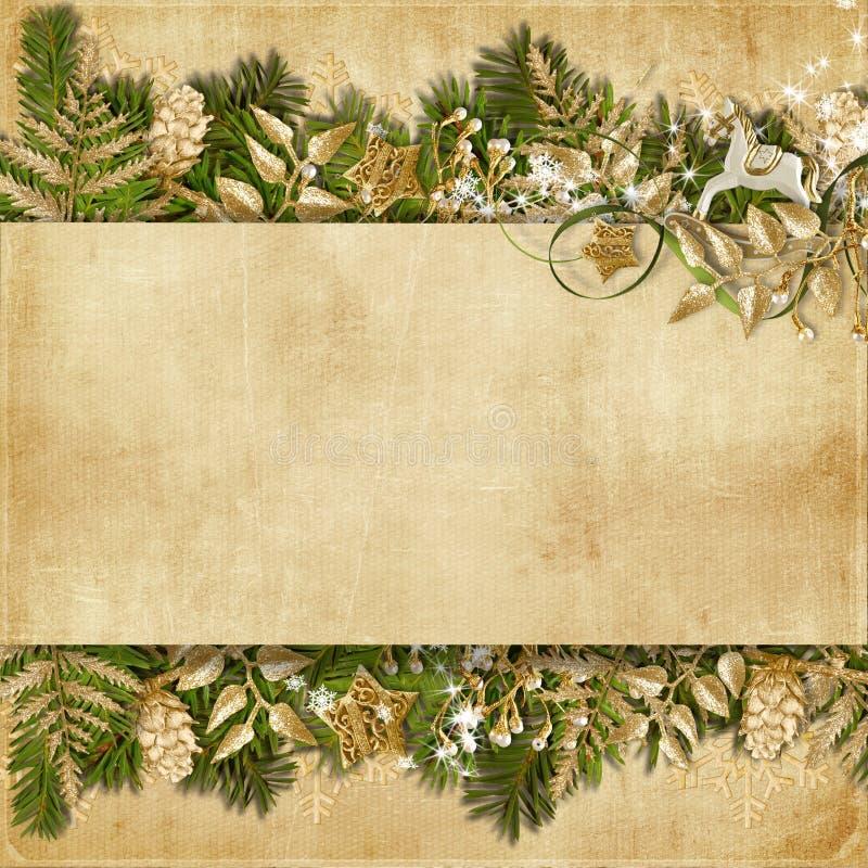 Cartolina di Natale con la ghirlanda miracolosa su fondo d'annata illustrazione di stock