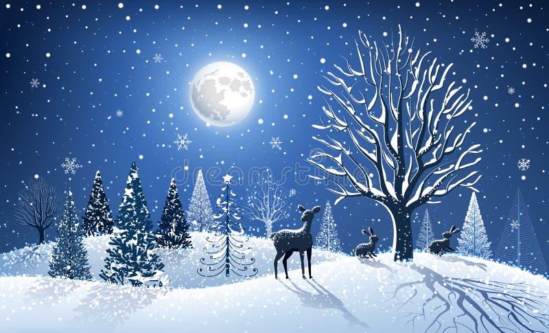 Cartolina di Natale con la renna illustrazione di stock