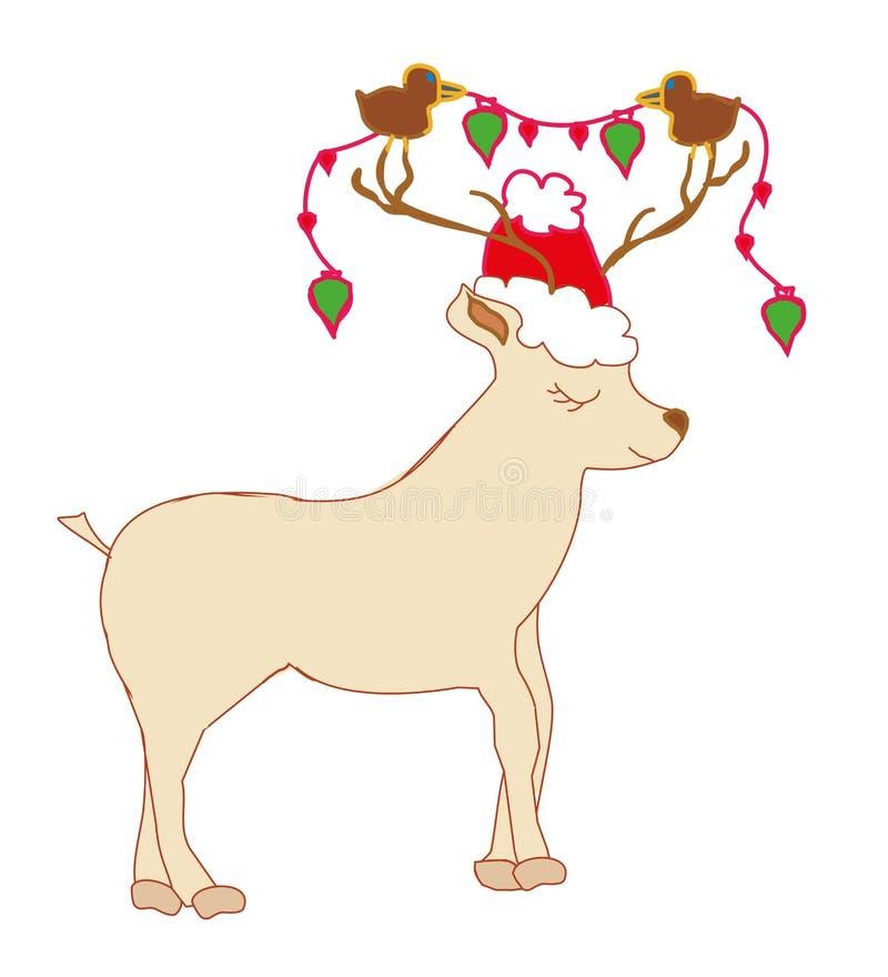 Cartolina di Natale con la renna Cervi svegli del fumetto illustrazione vettoriale