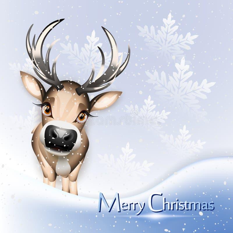Cartolina di Natale con la renna sveglia royalty illustrazione gratis