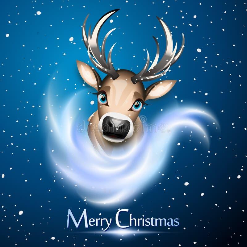 Cartolina di Natale con la renna sveglia sopra il blu illustrazione di stock