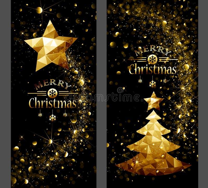 Cartolina di Natale con la stella d'oro ed alberi in basso poli illustrazione di stock